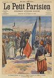 General Lyautey raises the French flag in the square of Oudja, Morocco, in the presence of the Amel