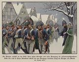 The remainder of the Prussian army marching past King Frederick William III and Queen Louise through the streets of …