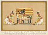 Anubis ministering to Osiris on his bier: at the head kneels Nephthys and at the feet Isis