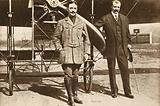 Adolphe Pegoud who, in 1913, became the first pilot to loop the loop, with fellow French aviator Louis Bleriot at …