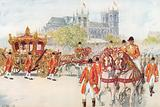 The coronation coach turns on to the Embankment