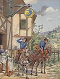 Messengers taking refeshment at a roadside inn
