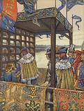 Louis XI of France and Edward IV of England meeting to sign the Treaty of Picquigny on either side of a wooden barrier, 1475