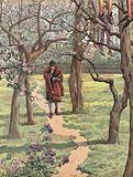 Louis XI of France walking through an orchard in spring with the bodies of hanged men suspended from the trees