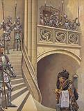 The barber climbed the stairs towards the King's chamber, past the numerous armed guards