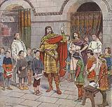 Charlemagne instructing pupils at his palace school