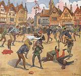 Medieval townsfolk enjoying themselves