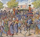 """King Louis XVI and his family travelling from Versailles to Paris under the """"protection"""" of the National Guards, 6 …"""