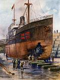 A tramp steamer in dry dock