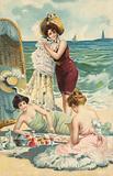 Girls having a picnic on the beach