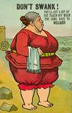 Obese woman in swimming costume