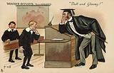 Boy facing a bad-tempered schoolmaster
