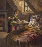 Girl serving tea to her sick mother, in bed with a baby