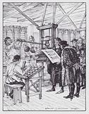 William Caxton in his printing shop
