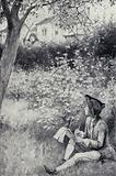 Thomas Gainsborough sketching a man he saw about to steal a pear in an orchard