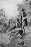 The village plumber helping a young John Constable paint a scene in Suffolk