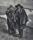 Tennyson, with his nurse, taking his last walk by the sea at Freshwater