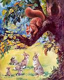 Red squirrel and rabbits