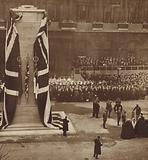 King George V unveiling the Cenotaph in Whitehall, London, on Armistice Day, 1920
