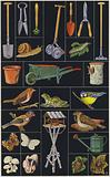Page from children's picture book, Garden implements and animals