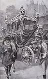 King Edward VII and Queen Alexandra in the State Coach returning from their coronation in Westminster Abbey, London, …