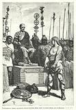 Vercingetorix submitting to Julius Caesar after the Siege of Alesia, Gaul, 52 BC