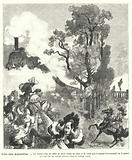 Imagined scene of a royal procession of the time of King Louis XIV of France being startled by the whistle of a steam train