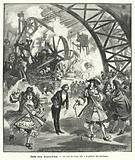 Imagined visit of King Louis XIV and his court to the Pavilion of Machines at the Exposition Universelle in Paris in …
