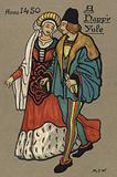 Couple in medieval costume, Christmas card