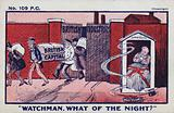 Watchman, what of the night? Anti-free trade postcard.