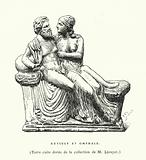 Ancient Greek terracotta sculpture of Hercules and Omphale