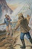 Man carrying a child and holding onto the rail of a ship in a storm