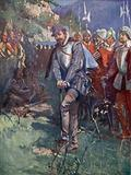 English explorer and adventurer Sir Humphrey Gilbert cutting the first sod of Newfoundland, claiming the land for …