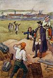 The French surrendering to the British at Louisbourg, Cape Breton Island, 1758