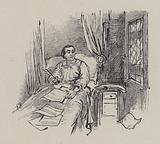 Italian composer Gioachino Rossini composing in bed