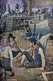 Long John Silver talking with other members of the crew of the Hispaniola
