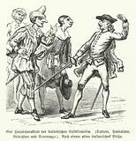 Dottore, Pantalone, Arlecchino and Scaramuccia, four characters from the Commedia dell'Arte