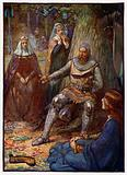 Robert the Bruce, King of Scotland, reading stories to his followers, 14th Century