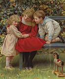 """""""Do tell!"""": three young children sharing a secret"""