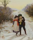 Pups: two children carrying puppies along a snowy lane