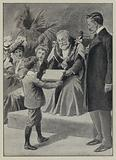 Arthur's first success: a boy receiving a prize from a mayor