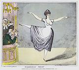 English cartoon depicting male members of the audience captivated by a performance by controversial French ballerina …