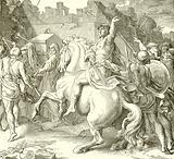 Joshua encircling the walls of Jericho