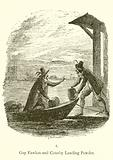 Guy Fawkes and Robert Catesby landing powder