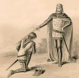 Prince Edward, the Black Prince, being knighted by his father, King Edward III