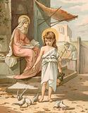 Jesus, as a boy, playing with doves