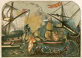 English fireships burning among the Spanish Armada
