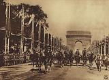America in World War I: Marshals Joffre and Foch, and staff of Allied officers, leading the Victory Parade through the …