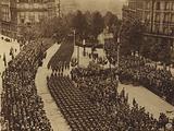 "America in World War I: Thrilling scene in the newly named ""Avenue de President Wilson,"" formerly the Avenue de Jena, …"