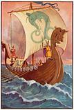 Vikings in a Dragon-Ship